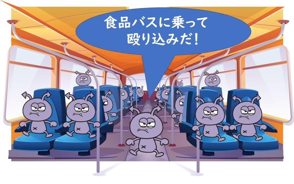 食中毒菌は食品というバスにのってやってくる