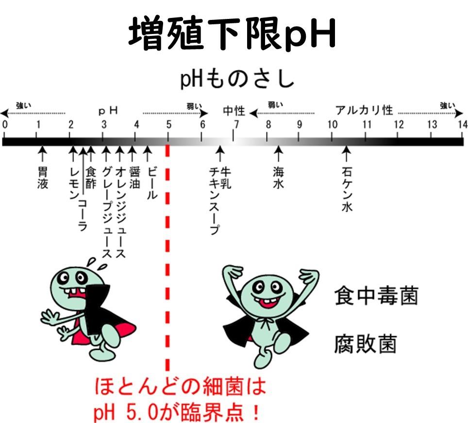 pHの違いと各種食品